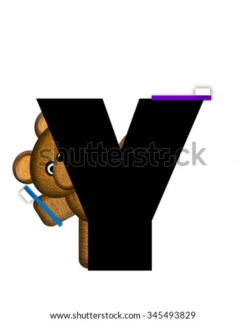 "The letter Y, in the alphabet set ""Teddy Dental Checkup,"" is black.  Teddy bear representing a dentist holds a toothbrush. - stock photo"