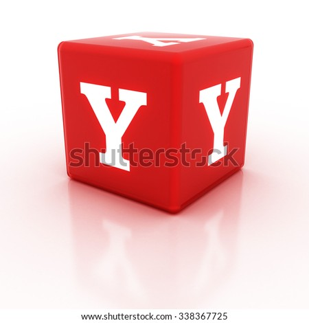 The letter Y on the cube. Multicolored alphabet on cubes.