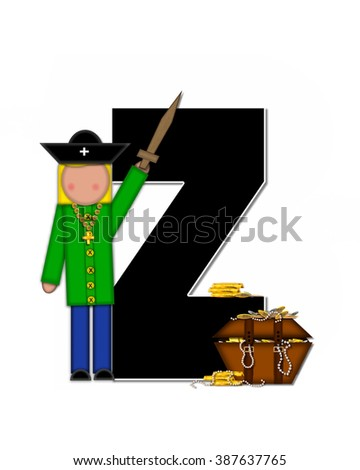 "The letter Z, in the alphabet set ""Children Pirates,"" is black outlined with white.  Children play pirates with wooden sword, treasure chest, gold and pearls."