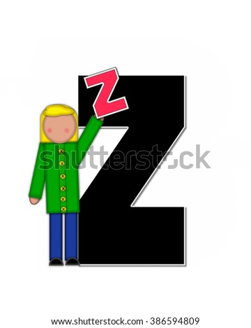 "The letter Z, in the alphabet set ""Children Playing ABCs"" is black outlined with white.  Children hold up colorful, matching, alphabet letter. - stock photo"