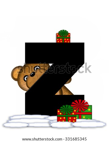 """The letter Z, in the alphabet set """"Teddy Christmas,"""" is black and sits on pile of snow.  Teddy Bear and presents decorate each letter. - stock photo"""