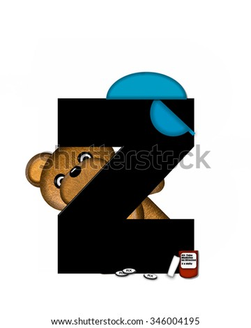 "The letter Z, in the alphabet set ""Teddy Dental Checkup,"" is black.  Teddy bear wearing a dental mask and hat represents dentist holding various dental tools.   - stock photo"
