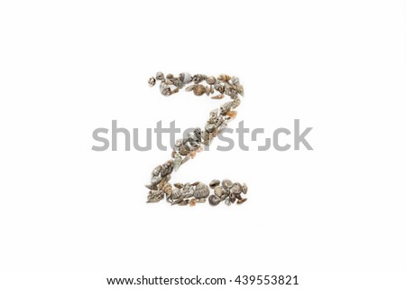 "The letter ""Z"" made from seashells"