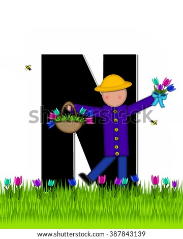 "The letterN , in the alphabet set ""Children Tulip Patch"" is black outlined with white.  Children hold tulip bouquet and stand in colorful tulip patch. - stock photo"