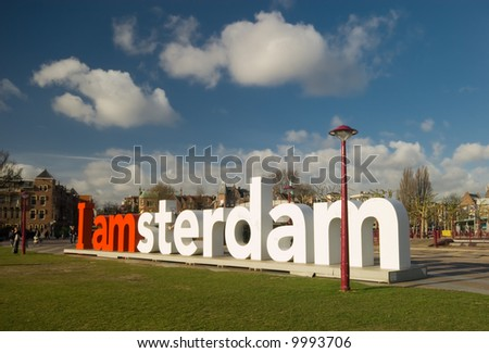 "The letters ""Amsterdam"" in front of the rijksmuseum in Amsterdam the Netherlands"