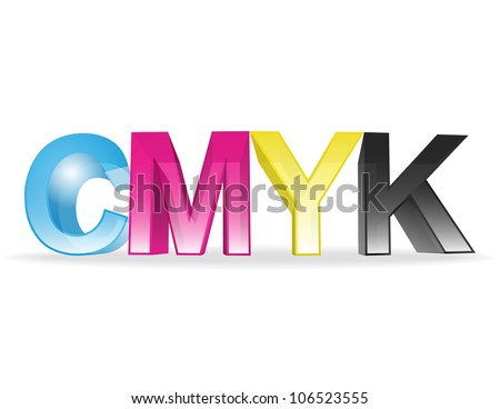 the letters CMYK on white background - stock photo