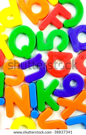 The letters of the alphabet isolated against a white background