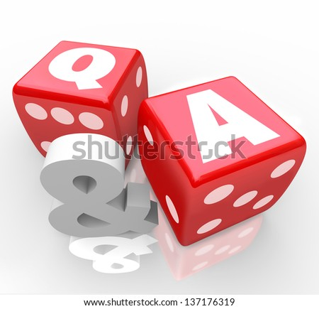 The letters Q & A on red dice to symbolize questions and answers to customer questions or assistance to frequently asked queries - stock photo