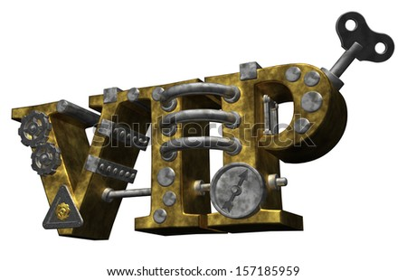the letters vip in steam-punk style - 3d illustration