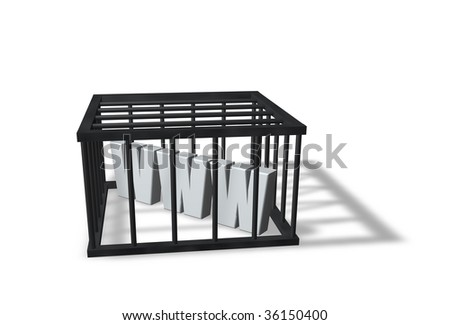 the letters www in a cage on white background - 3d illustration - stock photo