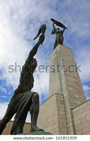 The Liberation Monument on Gellert Hill in Budapest - stock photo