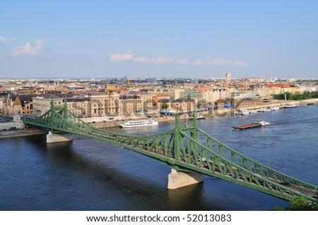 The Liberty bridge in Budapest in Hungary. - stock photo