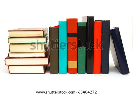 the library books on white table - stock photo