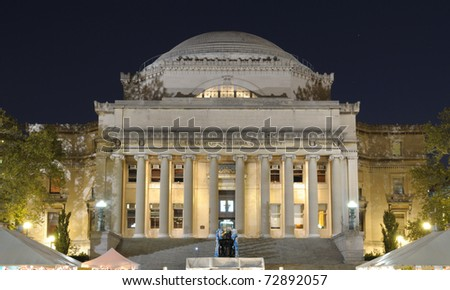 The Library of Columbia Universary with crowds below for a festival in New York City. - stock photo