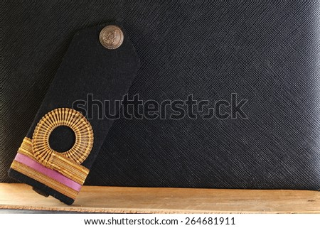 The lieutenant junior grade navy arm uniform decoration represent the Royal Thai Navy uniform concept related idea. - stock photo