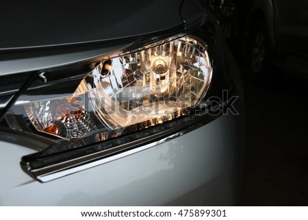 The light from car headlights