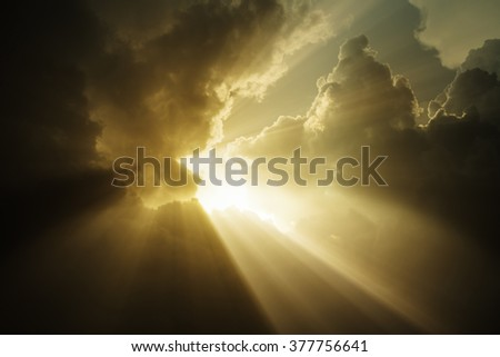 The light from the sky on a cloudy day storm 3d rendering. - stock photo