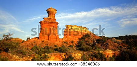 The Light House formation in Palo Duro Canyon State Park, Texas. - stock photo
