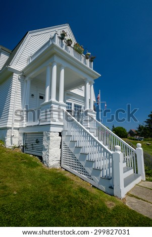 The light keepers home at the Marshall Point Lighthouse  - stock photo