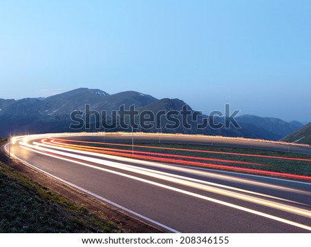 The light trails in the Rocky Mountain National Park, Colorado  - stock photo