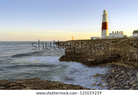 The lighthouse and obelisk at Portland Bill on the Jurassic Coast near Weymouth in Dorset