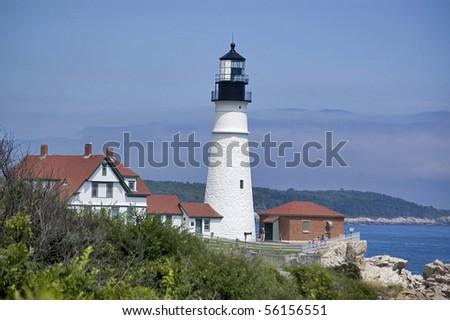 the Lighthouse at Cape Elizabeth, Maine, Usa - stock photo