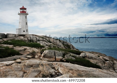 The lighthouse at Peggy's Cove in Nova Scotia Canada.