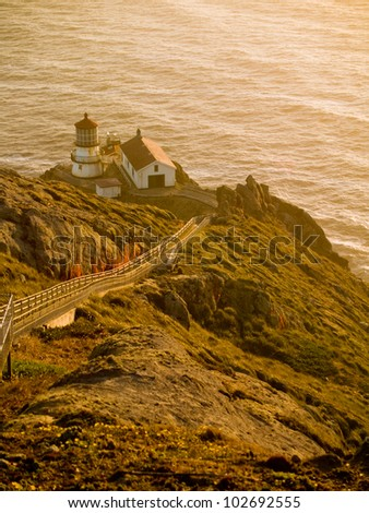 The lighthouse at Point Reyes, California at Sunset - stock photo