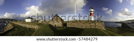 The lighthouse at Skansen in Thorshavn, Faroe Islands - stock photo