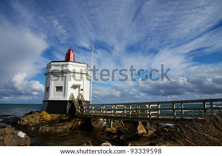 The Lighthouse at Stirling Point, Bluff, South Island, New Zealand - stock photo