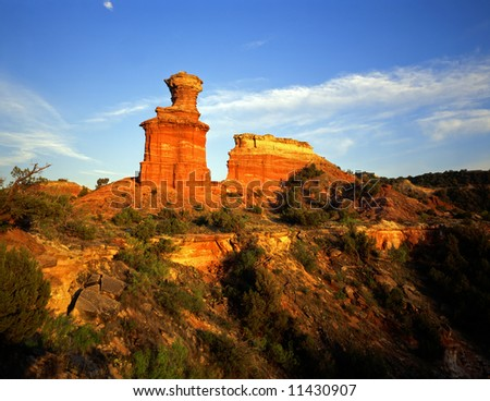 The Lighthouse Formation in Palo Duro Canyon State Park located in Texas. - stock photo