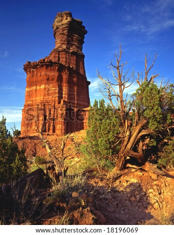 The Lighthouse formation in Palo Duro Canyon State Park, located in Texas. - stock photo