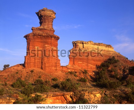 The Lighthouse Formation in Palo Duro Canyon State Park, Texas. - stock photo