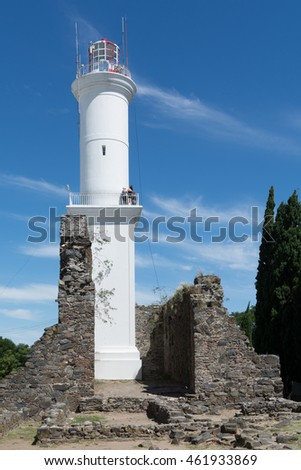 The lighthouse in Colonia del Sacramento, Uruguay, which stands over the ruins of a convent.