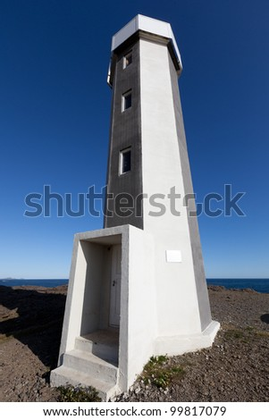 The lighthouse in Iceland on the shores of the Atlantic Ocean