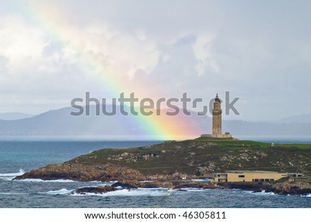 The lighthouse with a rainbow. The Tower of Hercules. World Heritage