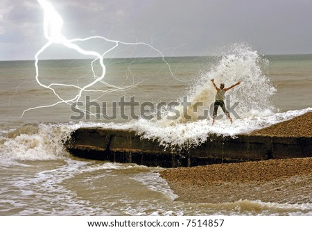the lighting storm landcscape and jumping girl - stock photo