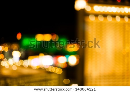 The lights from some Vegas hotels in an abstract out of focus bokeh style. - stock photo
