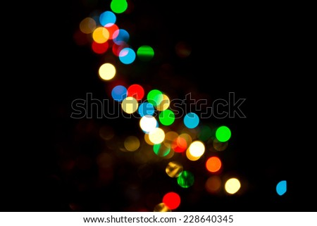 The lights on the Christmas tree at night - stock photo