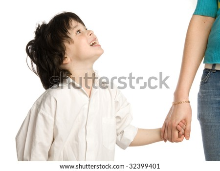 The liitle boy wish holding of mother`s hand - stock photo