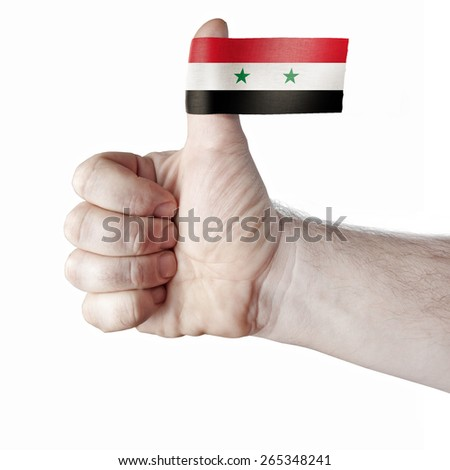 """The """"like"""" - the thumb and the flag of Syria - stock photo"""