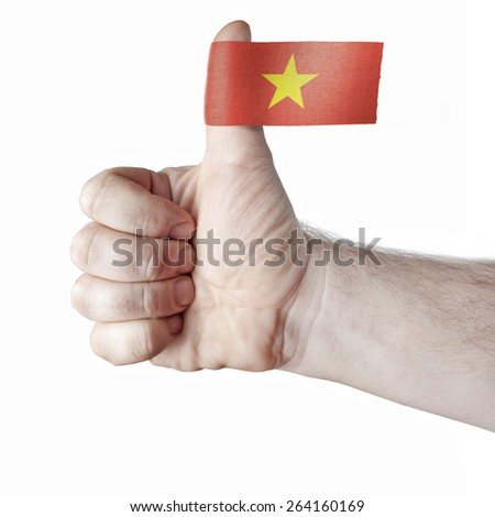 """The """"like"""" - the thumb and the flag of Vietnam - stock photo"""