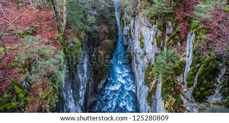 The limestone cliffs of Gorge des Tines, Sixt Fer a Cheval, France - stock photo
