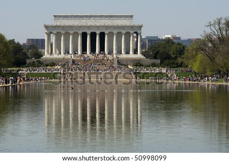 The Lincoln memorial and the reflecting pool