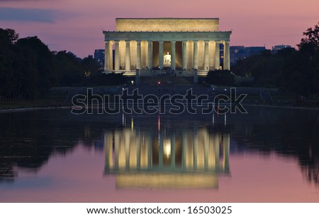 The Lincoln Memorial at night - stock photo