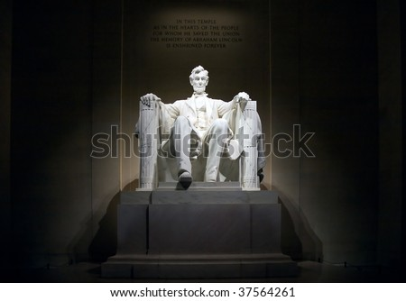 The Lincoln Memorial at night, illuminated, front view - stock photo