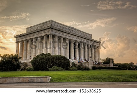 The Lincoln Memorial at sunset, Washington, DC - stock photo