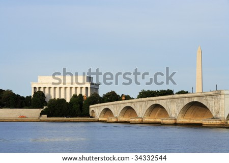 The Lincoln Memorial, Memorial Bridge and Washington Monument viewed from across the Potomac River. - stock photo