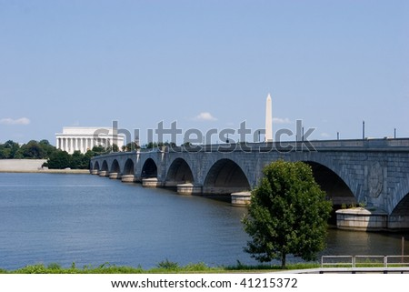 The Lincoln Memorial, Memorial Bridge and Washington Monument viewed from across the Potomac River - stock photo