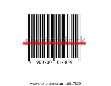 the line code on white background from ray of laser - stock photo